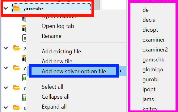 Gams solver options